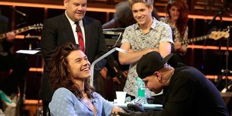 harry styles gets tattoo live harry styles got a real tattoo on the late late show askmen