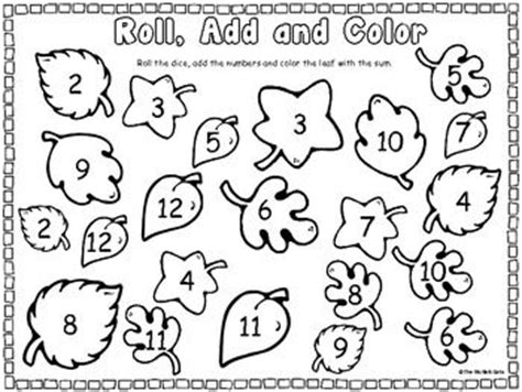 printable number leaves roll and color leaves kiddos color by math