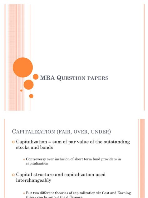 Questions To Ask At Mba Fair by Mba Question Papers Capital Structure