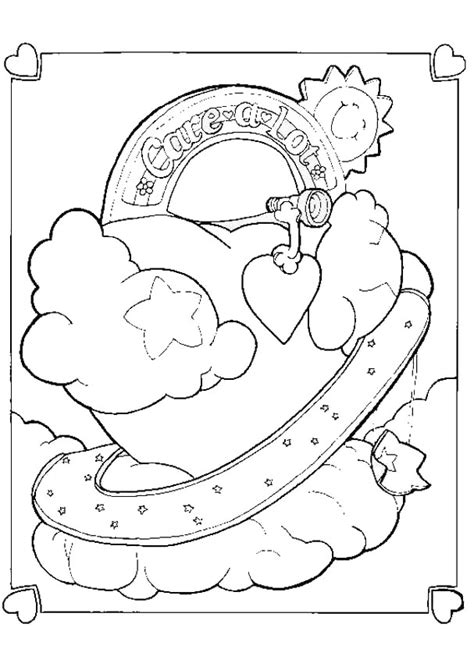 coloring page bear with heart care bear heart coloring pages hellokids com