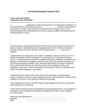 consent  survey questionnaire  template pdffiller