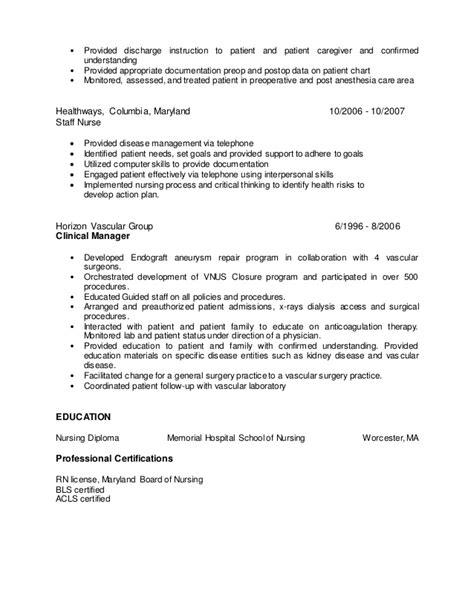 Pre Op Sle Resume by Pre Op Resume Free Resumes Tips