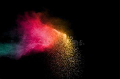color dust abstract color powder explosion on black background stock