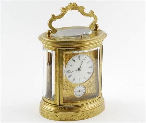 antique 19th century repeating carriage alarm clock gilt brass oval ebay