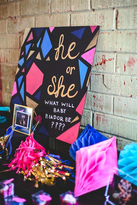 Baby Shower Reveal Ideas by Kara S Ideas Geometric Gender Reveal Baby Shower