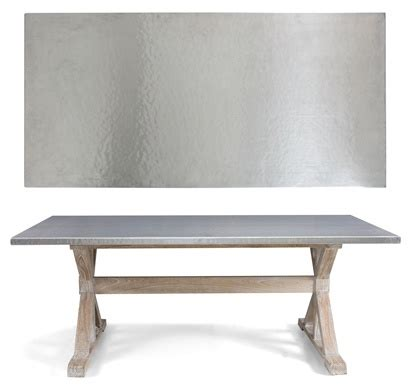 Dining Table With Stainless Steel Top Bernhardt Interiors Quentin Dining Table Hammered Stainless Steel Top Solid Mindi Wood