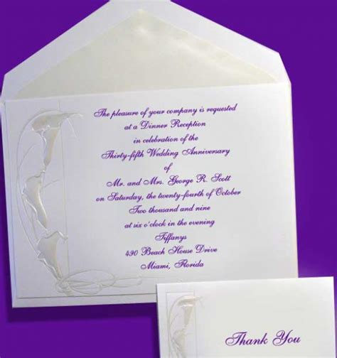 Embossed Calla Lilies Wedding Anniversary Invitations