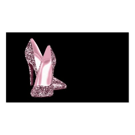 high heel template for cards pink glitter high heel shoe business card template zazzle
