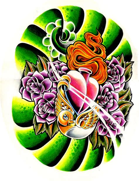 new skool tattoo designs birdy roses new skool by willemxsm on deviantart