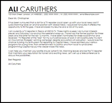 tv reporter cover letter sle livecareer