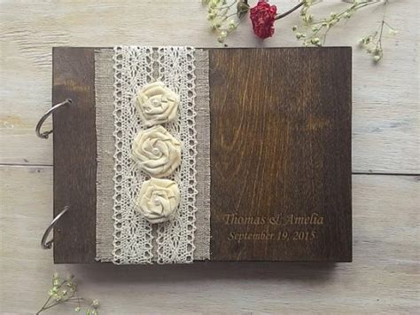 Wedding Guestbook 6 wooden guestbook wedding guest books burlap lace guest