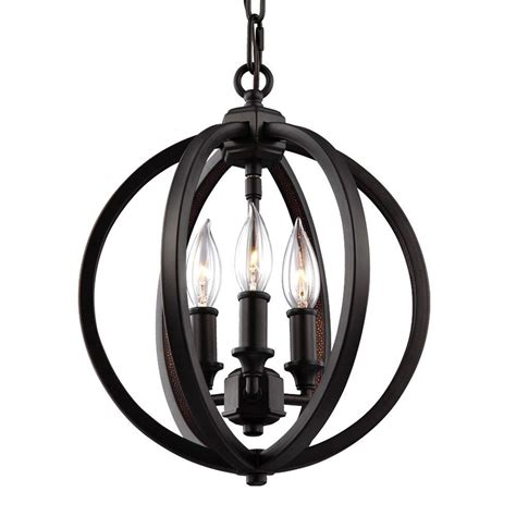 3 Light Pendant Fixture Feiss Renewal 1 Light Rubbed Bronze Pendant P1261orb The Home Depot