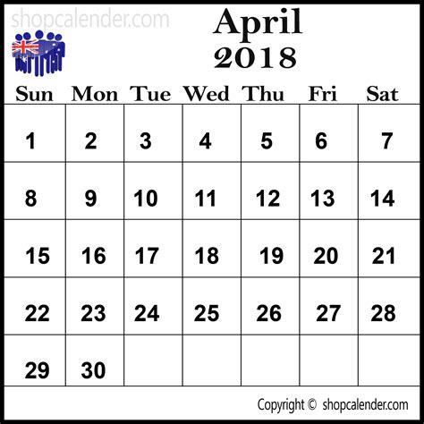 Calendar 2018 April Australia April 2018 Calendar Australia Blank Free Calendar