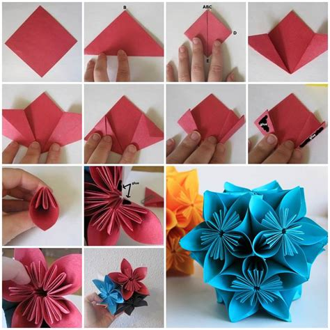 Origami Flower Ornament - creative ideas diy vintage origami kusudama