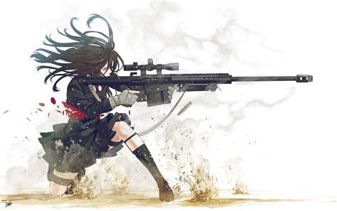 wallpaper anime girl with gun anime girls guns gunslinger girl sniper rifles walldevil