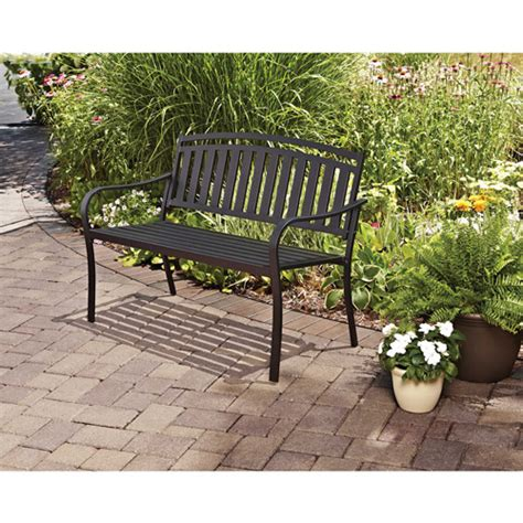 black metal bench outdoor mainstays slat garden bench black walmart com