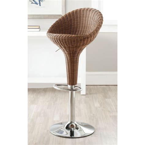 Brown Wicker Bar Stools by Safavieh Nordika Adjustable Height Wicker Brown Swivel Bar