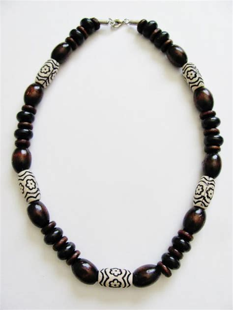big bead jewelry large brown wooden bead surfer necklace s unisex