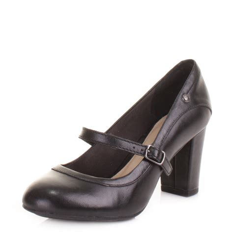 womens hush puppies sisany black leather court