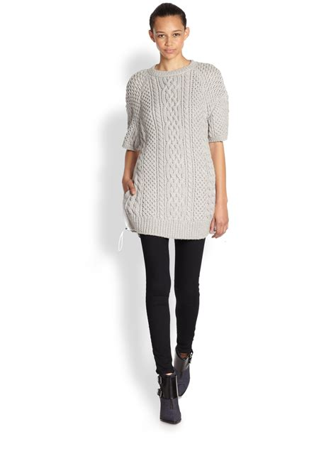 Sweater Parasut Sacai Cable Knit Parachute Back Sweater In Gray Lyst
