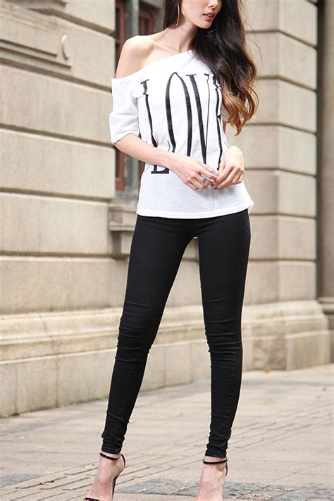 27507 White One Sided Casual Top white one side shoulder three quarter sleeve text