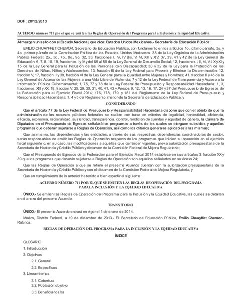 dof diario oficial de la federacin acuerdo 711 dof diario oficial de la federaci 243 n