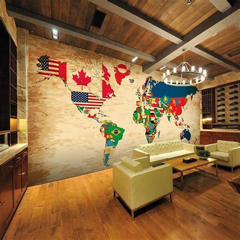 3d Wallpaper World Roll Besar 5 retro world countries flags map large 3d room wallpaper mural rolls for wall 3 d tv livingroom