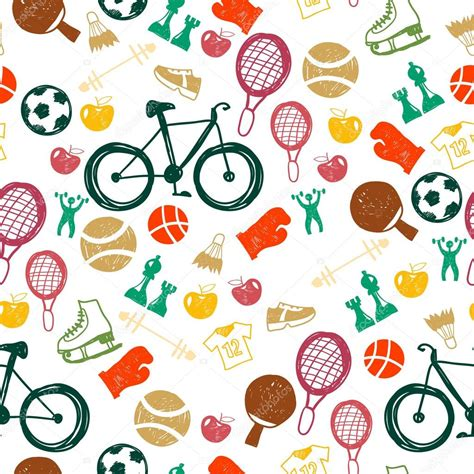 sport pattern background free seamless pattern with sport icons stock vector