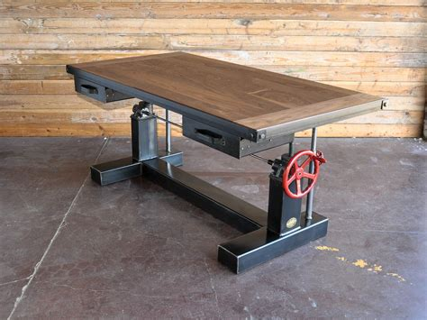 Antique Kitchen Islands For Sale by Crank Desk Vintage Industrial Furniture