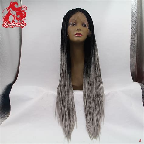 ombre micro braid hair ombre grey braiding hair synthetic lace front wig long