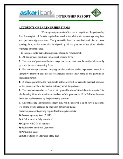 Sle Letter Of Agreement Between Business Partners Report On Askari Bank By Linky City