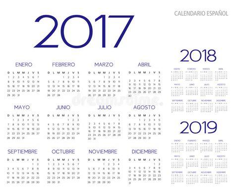 testo spagnolo il testo spagnolo di vettore calendario 2017 2018 2019