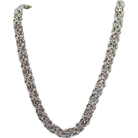 silver chain for jewelry signed milor italy sterling silver byzantine chain