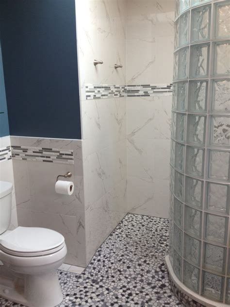 Pebble Tiles Bathroom Bathroom Remodel With Curved Barrier Free Glass Block Walk