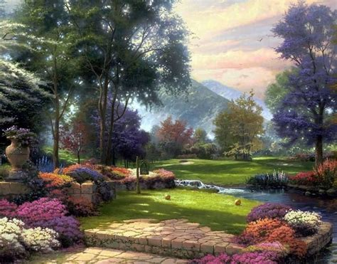 wonderful gardens beautiful landscape painting picture images photos