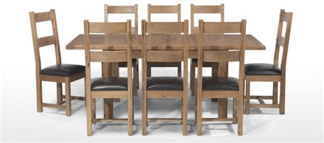 Dining Tables 8 Chairs Rustic Oak 132 198 Cm Extending Dining Table And 8 Chairs Quercus Living