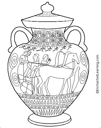 Ancient Greece Coloring Pages Greek Amphora Coloring Page Enchantedlearning Com