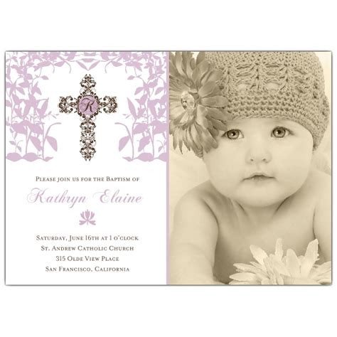Cross Trellis Photo Baptism Invitations Paperstyle