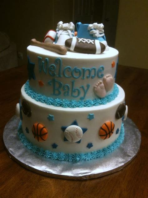 Sports Theme Baby Shower Cake by Sports Themed Baby Shower Cakes Sport Theme Baby Shower