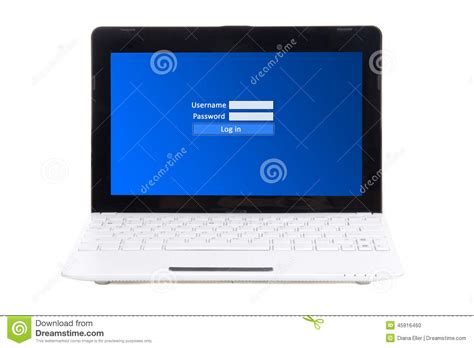 laptop with login and password panel on screen isolated o stock photo image of