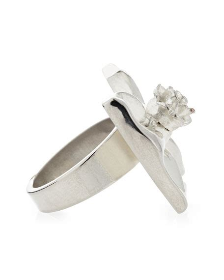 Silver Tapered Bow Ring tuleste large bow ring silver plate