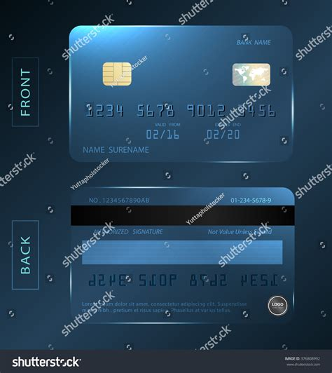 debit card template to understand vectorshiny credit debit card design stock vector