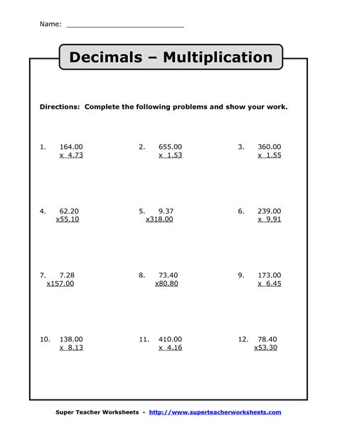 Multiplying With Decimals Worksheets by Multiplying Decimals Multiplication With Decimals