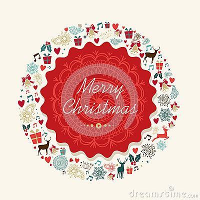 vintage crculo de concepto feliz navidad vector de stock ejemplo de la tarjeta postal del vintage de la feliz