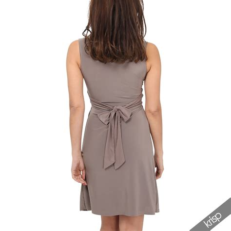 low cut swing dress womens ruched twist knot front low cut v neck top pleated