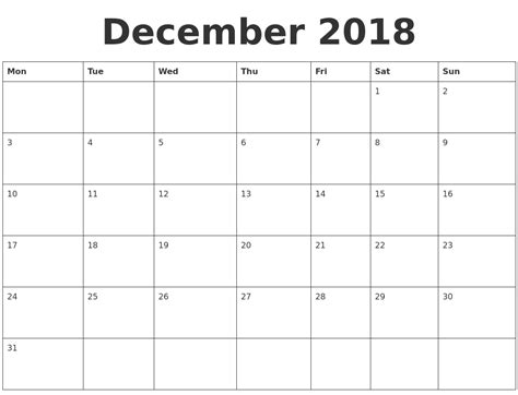 blank calendar template starting with monday december 2018 blank calendar template