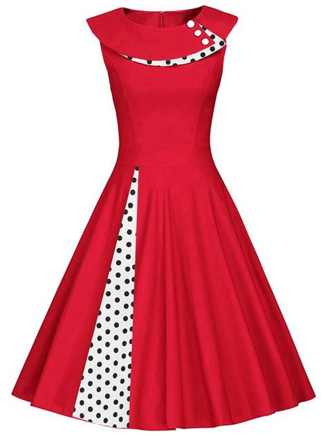 Sleeveless Pleated A Line Dress 2018 polka dot sleeveless pleated a line dress xl in