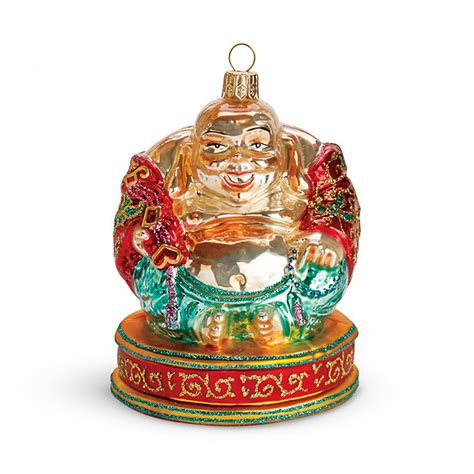 happy buddha glass christmas ornament gump s
