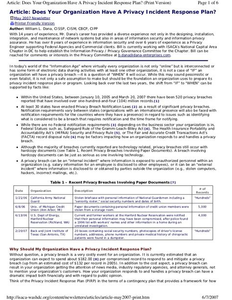 incident response template does your organization a privacy incident response plan