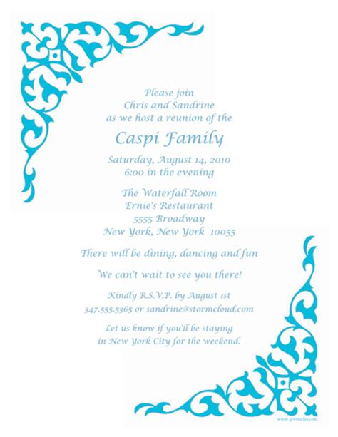 reunion invitation template family reunion invitation template